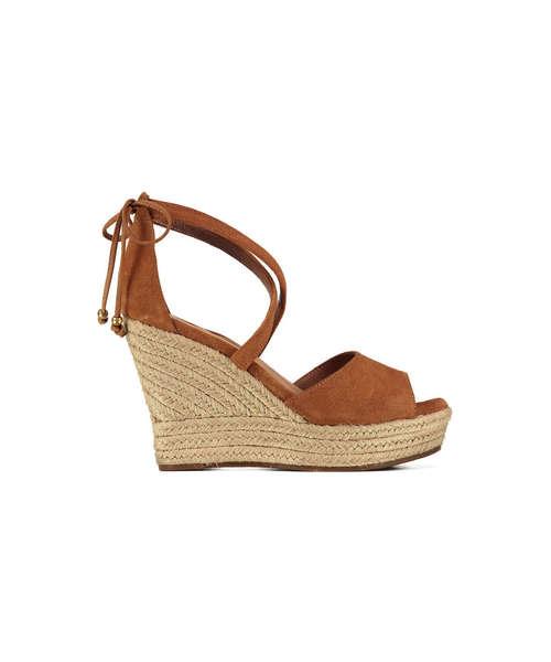 Sandale compensée femme camel
