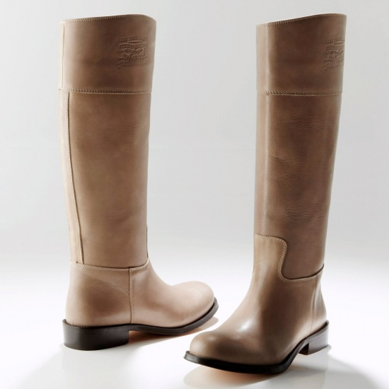 Bottes cavalières femme cuir marron