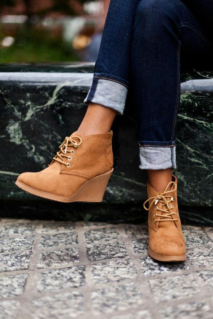 Chaussure compensée noir hiver