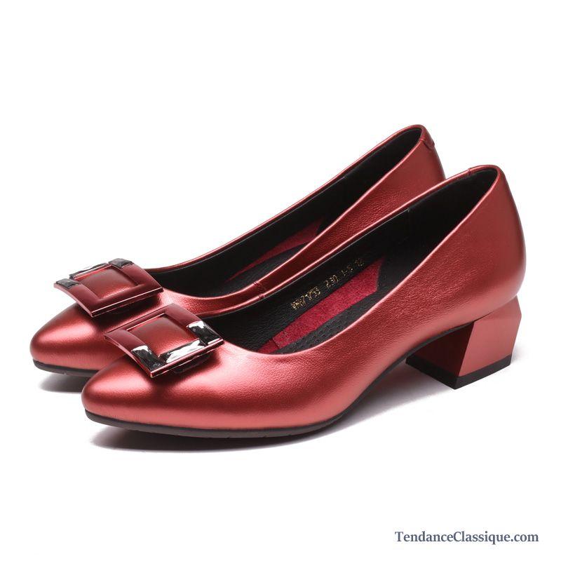 Botte femme rouge cuir