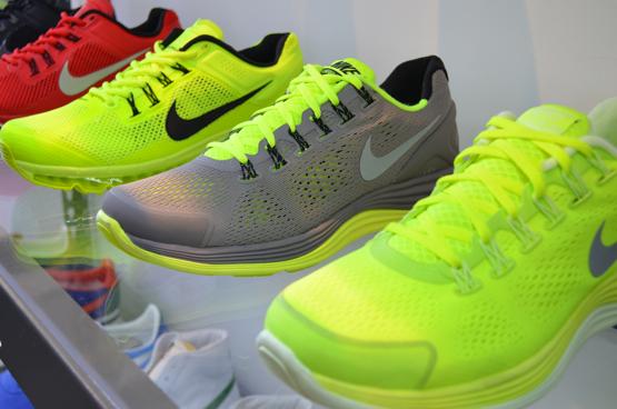 Nike running neon shoes