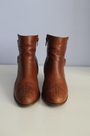 Bottes cuir femme marron