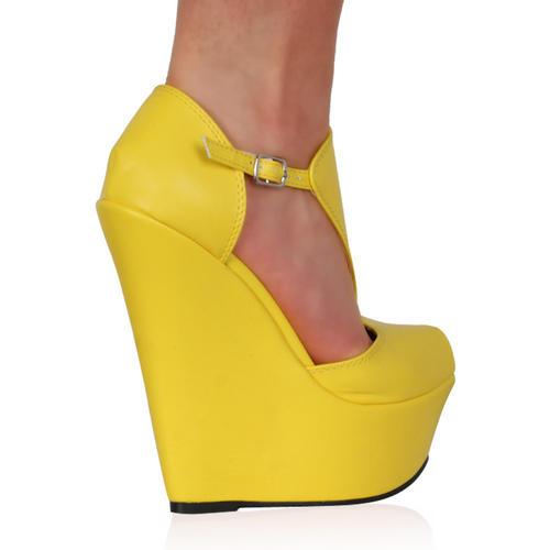 Chaussure talon compensé yellow