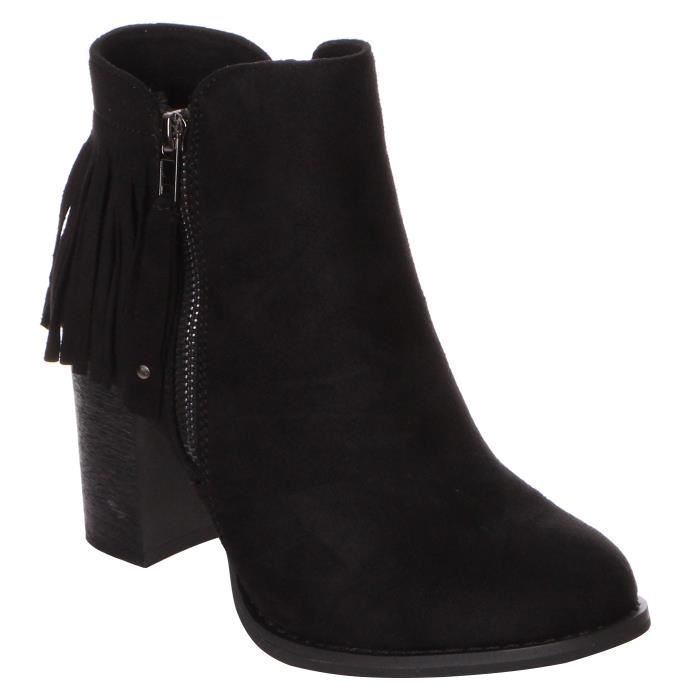 Bottines a talon daim noir