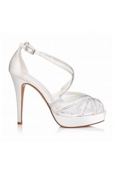 Chaussure compensée blanc mariage