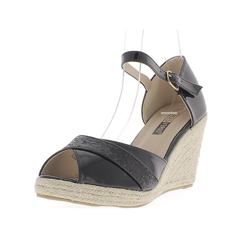 Chaussures compensées talon large