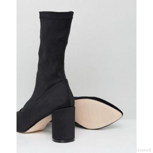 Bottines chaussettes talon carré
