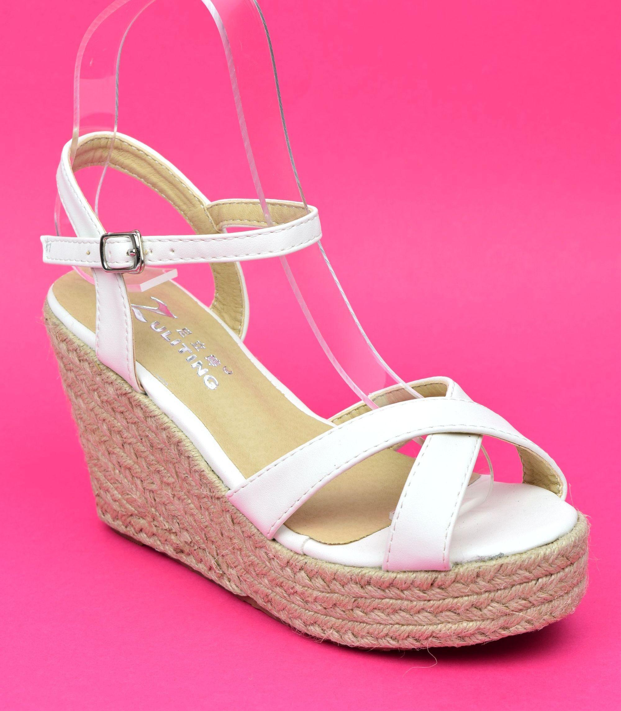 Sandale compensée femme blanche