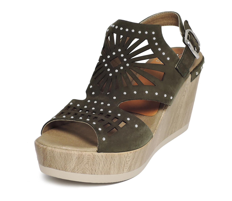 Sandale compensée femme beige