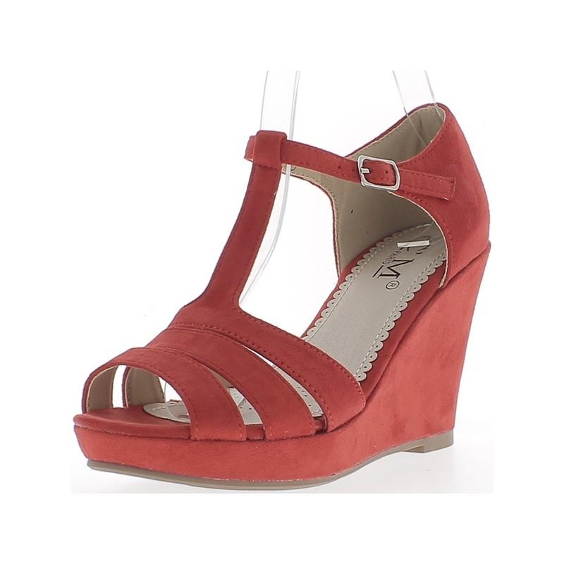 Chaussures compensées fermées rouge