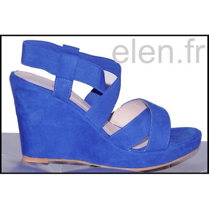 Chaussure compensée bleu electrique