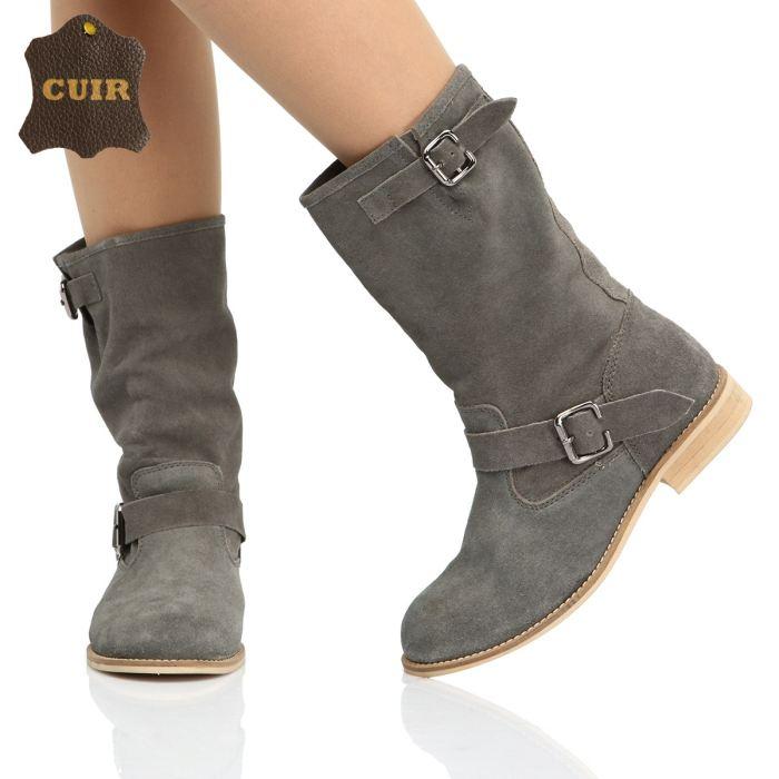 Bottes grises femme cuir