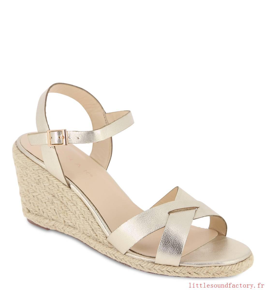 Chaussures compensées dorées femme