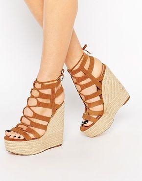 River island - chaussures compensées avec talon plateforme style espadrilles